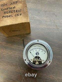 Antique Military Marine Boat Aviation Simpson Electric 10v Ammeter Amp Gauge Nos