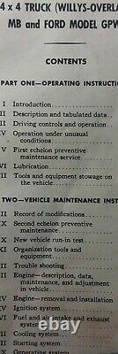 Jeep Willys MB Ford GPW 1/4 ton 4x4 Truck Owner, Parts & Service Manual 1944 War