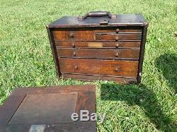 Vintage 6 Drawer Wood Machinist Chest Pilliod Tool Shop Hardware Co Detroit