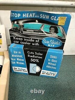 Vintage Car Window Tint Sun Shield Cardboard Display Petroliana Man Cave Visor