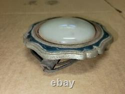1920s 1930s Art Deco Dome Courtsy Pillar Light With Rond Lait Glass #2