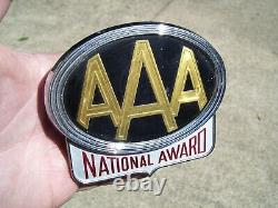 1950 Antique Automobile Aaa Chrome Bumper License Plate Topper Vintage Ford Mgb