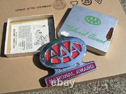1950 Antique Nos Automobile Aaa Chrome Bumper Plaque De Licence Topper Vintage Ford