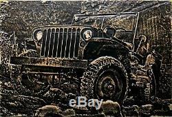 Jeep Willys MB Sculpture Sur Bois 17 X 11 Art Garage Ford Gpw Grotte Homme