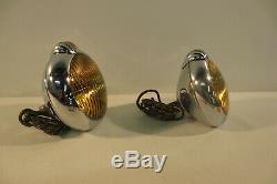 Nos Pair Vintage Unity H2 Brouillard Lumières Lampes Encastré Ambre 6 Volt 4 Spotlight