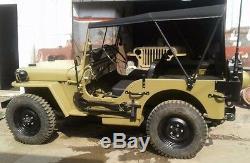 Toile Souple Cousue Pour Jeep Ford Willys MB Gpw 1941-1948 Kaki & Noir