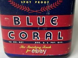 Vintage Nos Gm Blue Coral Car Auto Wax Etiquette De Bouteille General Motors Rare