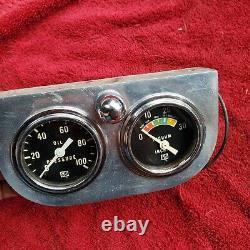 Vintage Stewart Warner Deux Jauges Aluminium Offenhauser Panneau À Vide Pression D'huile