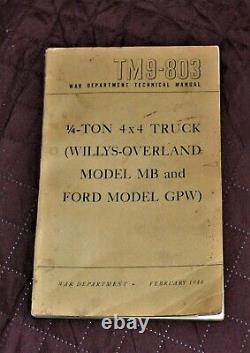 Vtg 1944 1947 1948 Willys Overland Jeep MB Ford Gpw Manuel Tm9-803