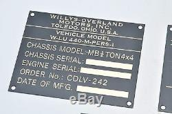 Willys MB G503 Canadien 242 Contrat Brass Plate Data Set Ford Gpw Jeep Ww2